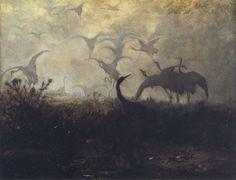 Józef Chełmoński - Odlot żurawi, 1870