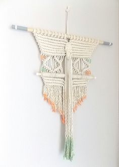 "Macrame Wall Hanging ""Mask"" by Himo Art, One of a kind Handcrafted Macrame. it would be cool to keep going and make a window treatment"