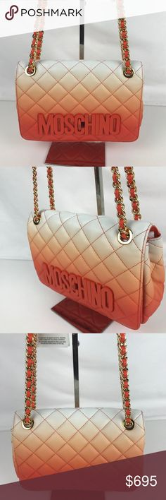 """Moschino Degrade Italian Leather Shoulder Bag Authentic. New with Tags and Serial Number Card. Some scratches on clasp and a few minor marks on exterior from handling.  The fashion house's signature front-and-center letters are painted to blend in with the orange dégradé finish of a classic quilted shoulder bag crafted from deliciously supple nappa leather. Pull-through chain-and-leather strap. 9.8""""L x 6.3""""H x 3""""D.   Thank you for your interest!   PLEASE - NO TRADES / NO LOW BALL OFFERS / NO…"""