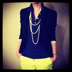 Collar Up, Jacket & Pearls
