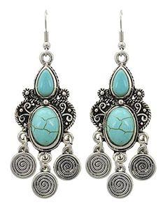 Trendy Fashion Chandelier Dangle Antique Silver Turquoise Stone Earring / AZERVT834-ATU Arras Creations http://www.amazon.com/dp/B00SCEHYPU/ref=cm_sw_r_pi_dp_TT2Ivb10P035R