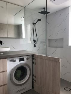 Apartment Small Bathroom Ideas with Washing Machine - Modern Tiny Laundry Rooms, Laundry Room Bathroom, Narrow Bathroom, Tiny Bathrooms, Upstairs Bathrooms, Bathroom Renos, Washing Machine In Kitchen, Washing Machine And Dryer, New Bathroom Ideas
