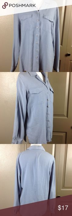 Women's Button Down Dress Shirt Blouse 100% Silk Great condition no tags inside fits like a medium light lavender 2 front pockets slide slit Silk 28 inch length 20 bust no tag Tops Button Down Shirts