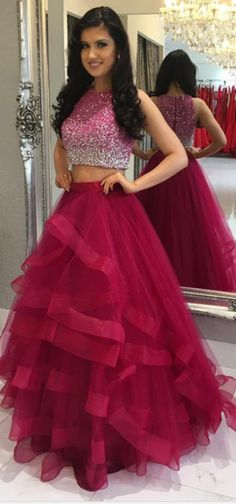 Red Prom Dresses,Two Pieces Prom Dresses,A-line Tulle Prom Dresses,Formal Evening Dresses,Zipper Back Prom Dress,Long Prom Dresses,Sparkly Prom Gowns,Prom Dresses For Teens,Prom Dress 2017,Cute Dresses DR0050