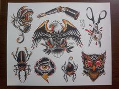 Derek B. Ward  http://www.etsy.com/shop/DerekBWard #neotraditional #tattooflash #DerekBWard #halloweentattoo #tattoo #DerekWard #halloweenflash