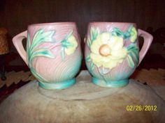 Items similar to Roseville Pottery Cups In the Peony Pattern Mint Condition Rare Find on Etsy Roseville Pottery, Peony, Mud, Clay, Unique Jewelry, Tableware, Handmade Gifts, Artist, Pattern
