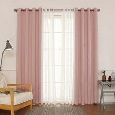 Best Home Fashion Sheer Faux Gauze Linen and Blackout Grommet Curtain Panel Set, Dusty Pink Dusty Pink Curtains, Rose Curtains, Grommet Curtains, Panel Curtains, Living Room Decor Curtains, Bedroom Decor, Baby Room Curtains, Home Fashion, Curtain Designs For Bedroom