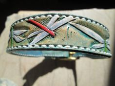 Dragonflies tooled leather dog collar by AcrossLeather on Etsy, $80.00