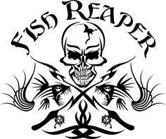 Fish Reaper Skull Tribal Fishing Rod Car Boat Truck Window Vinyl Decal Sticker #Oracal