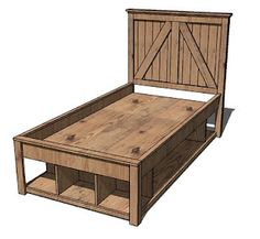 toddler bed with storage.. Have a large drawer on long side instead of it being open