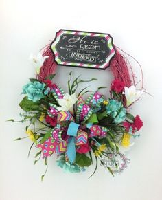 He Is Risen Wreath, Easter Wreath, Hot Pink Spring Wreath, Chalkboard Wreath