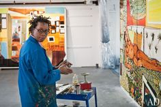 Mickalene Thomas in her Brooklyn studio.