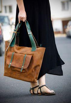 Brown Oversized Leather Bag van ladybuq op Etsy, €143,33