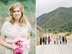 i love how the bridesmaids dresses are all different, pretty darn cool. her flowers are gorgeous too.