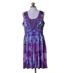 Apt. 9 Light Blue & Purple Artsy Print Lace Front Stretch Knit Dress Size XL #Apt9 #Sheath #Casual