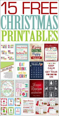 15 free Christmas printables. Awesome collection of FREE Christmas printables!