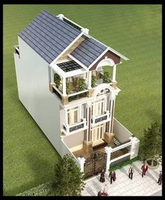 mau nha pho dep 3 tang dien tich 5x17m Elevation Plan, House Elevation, Architecture Plan, Beautiful Architecture, Small Villa, Apartment Plans, Little Houses, Minimalist Home, Townhouse