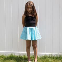 Blue plaid circle skirt