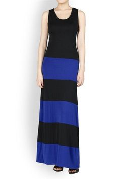 SALE - BLACK BLUE STRIPED JERSEY COLOR BLOCK SOFT SILKY TANK MAXI DRESS S M L #WearItLikeADiva #Maxi #Casual