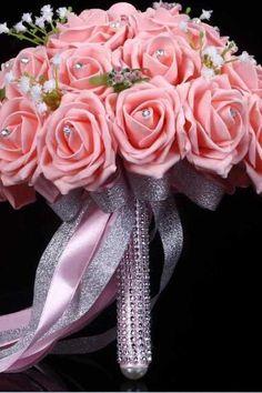 2016 New Arrival Flowers Cheap Romantic Pink Bridal Bridesmaid Handmade Artificial Rose Wedding/Bridesmaid Bouquets