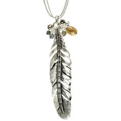Hultquist Bear & Feather Long Silver Feather Necklace with topaz. Lizzielane.com