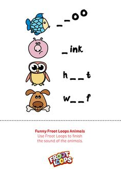 Funny Froot Loops Animals Busy Bag helps your child spell and sound out words