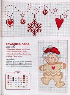 Ricami, lavori e centinaia di schemi a punto croce di tutti i tipi, gratis: Punto croce natale - schemi per bavette a tema natalizio