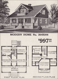 Modern Home No. 264B206  1916 SEARS ROEBUCK MODERN HOMES         A favorite subtype among the different Craftman-style bungalows was the Swiss Chalet. Some were very Swiss with exaggerated eaves and woodwork. Others, like Sears Modern Home No. 264B206, were much more modest, with the most pronounced expression being the pierced pattern in the vertical slats of the porch railing.  In the 1923 catalog, this plan appears as the Westly and was offered with two different plan options. One of Sears' more popular homes, it appears in catalogs from 1913 to 1929.