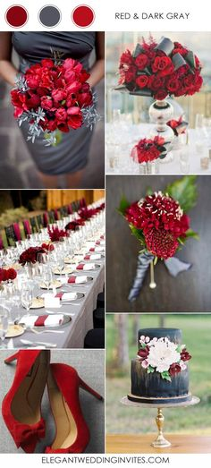 red and dark gray wedding color schemes for 2017 We are loving these 2017 Wedding trends! 2017 Wedding Trends, Wedding 2017, Wedding Themes, Fall Wedding, Wedding Styles, Wedding Decorations, Wedding Cakes, Rustic Wedding, Wedding Color Combinations
