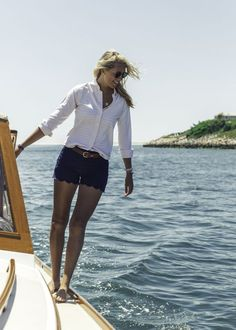 Ask your Stitch Fix stylist for items like this is your next Fix. Spring & Summer fashion trends 2017. #sponsored #stitchfix Navy scalloped shorts, brown belt, white button up shirt. Boating outfit. Nautical!