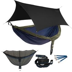 ENO DoubleNest OneLink Sleep System - Orange/Grey Hammock With Grey Profly >>> Quickly view this special product, click the image : Camping Furniture Camping Cot, Camping And Hiking, Camping Gear, Outdoor Camping, Camping Hammock, Glamping, Hammock Tarp, Portable Hammock, Outdoor Survival Gear