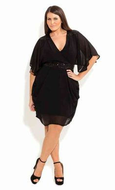 City Chic Embellished Draped Chiffon Dress (Plus Size) Black Small City Chic, Curvy Girl Fashion, Plus Size Fashion, Petite Fashion, Fashion Women, Plus Size Dresses, Plus Size Outfits, Xl Mode, Moda Xl