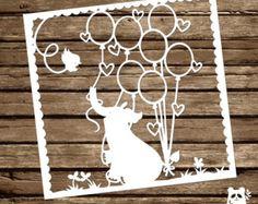 PAPER PANDA Papercut DIY Design Template  'Wedding