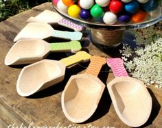 Small Chevron Wooden Candy Scoops, Stamped Candy Scoops, Candy Buffet Scoops, Toppings Scoops (set of 6) GIRLS Rainbow Colors or ONE Color