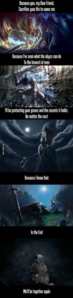 Dark Souls - Prepare To Feel Edition : Artorias and Sif Soul Game, Dark Souls Lore, Dark Souls 3, Funny Dark Souls, Dark Souls Memes, Demon's Souls, Berserk, Tarot, Dead Inside
