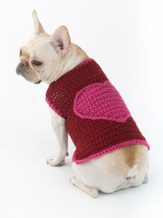 We love crochet patterns for pets: free dog sweater crochet pattern at LoveCrochet