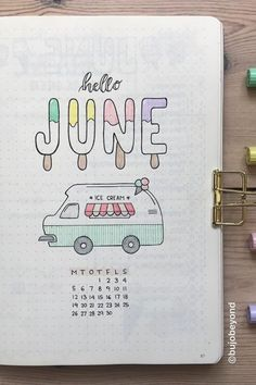 23 Must See June Monthly Cover Ideas For 2020 – Crazy Laura I love how cute and fun this ice cream monthly cover page is! Bullet Journal School, Bullet Journal June, Bullet Journal Cover Ideas, Bullet Journal Headers, Bullet Journal Banner, Bullet Journal Aesthetic, Bullet Journal Notebook, Bullet Journal Themes, Bullet Journal Spread