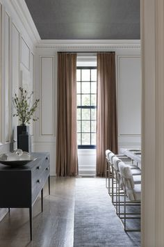 Grey wallpaper ceiling, black windows, styled buffet sideboard, white and brass dining chairs - Ali Budd Interiors Dining Chairs Buy, Home Interior Design, Dining Room Chairs, Interior Design, House Interior, Interior, Room Design, Home Decor, Dining Room Inspiration
