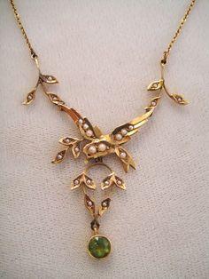 Antique Edwardian 14 k Gold Peridot Seed Pearl Pendant Lavaliere