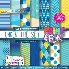 Under the sea Digital Paper free clip art free patterns Backgrounds blue yellow…