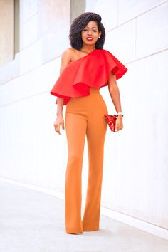 One Shoulder Silk Top x High Waisted Pants