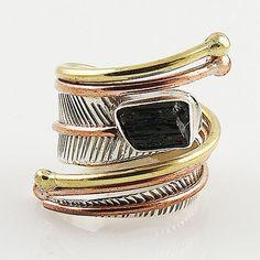 Black Tourmaline Rough Three Tone Sterling Silver Adjustable Wrap Ring – Keja Designs Jewelry