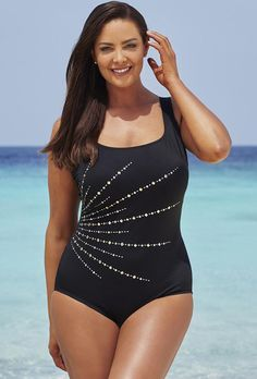 176ce4c271bd3 SwimsuitsForAll - Longitude Longitude Embellishment Fan Tank Swimsuit -  AdoreWe.com