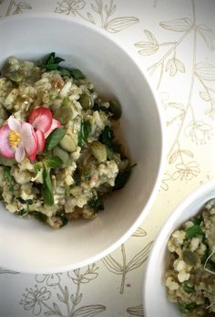 spring wild rice + fresh herbs & edible flowers // via saviasabia.com