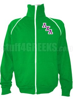 Kelly green Lambda Chi Alpha track jacket with logo letters on the left breast.