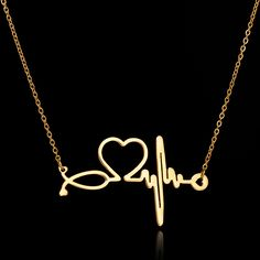 New Fashion Chain Pendants Necklaces For Women Stainless Steel Silver Gold Stethoscope Pendant Heart ECG Heartbeat Necklace //Price: $8.90 & FREE Shipping //     #girl #shopping