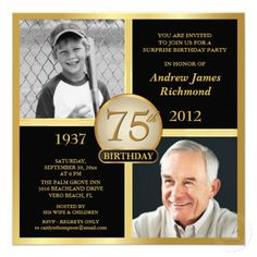 20 best 75th birthday party invitations images on pinterest 75th 75th birthday invitations then now photos filmwisefo