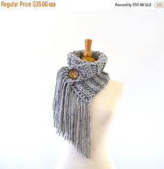ON SALE Fringed Chunky Scarf Cowl Neckwarmer with One by Avaneska