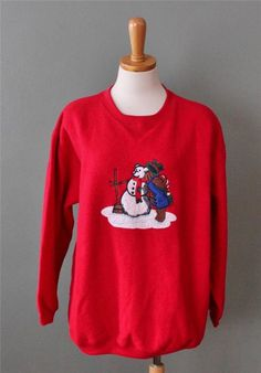 Ugly Christmas Sweater Women Men XL sweatshirt red Bear building snowman CS26 #PacerII #Crewneck