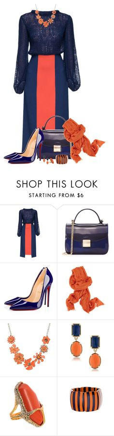"""Coral & Navy"" by montse-gallardo ❤ liked on Polyvore featuring Lattori, Furla, Christian Louboutin, Ann Demeulemeester, Shourouk, 1st & Gorgeous by Carolee, De Buman and Fornash"